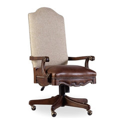 Hooker Furniture - Adagio Tilt Swivel Chair - White glove, in-home delivery included!  Grand scale classic design and soft flowing shapes are married with a rich dark finish to give birth to the stunning Adagio collection.  Tilt swivel, pneumatic gas lift, casters, leather seat and fabric back.