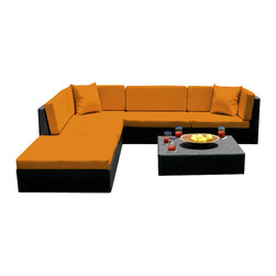 MangoHome - Outdoor Wicker Sofa Sectional 6 Piece Resin Couch Set - This amazing outdoor sectional set comes in 3 different pieces. It is very functional, stylish and designed to meet your needs! Look at our pictures to view all of the possibilities! Each wicker set is hand crafted by trained professionals with premium quality materials assuring your set will last many years!