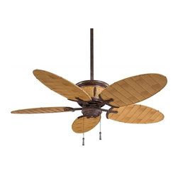 Minka-Aire - Minka-Aire Shangri-la 1-Light Vintage Rust/Bamboo Outdoor Fan - F580-VR/BB - This 1-Light Outdoor Fan is part of the Shangri-la Collection and has a Vintage Rust/bamboo Finish. It is Outdoor Capable, Wet Rated, and Damp Rated.