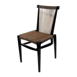 Irving Sabo Black String Dining Chair - This fabulous Irving Sabo dining chair was designed in 1953. This good looking piece features a black lacquer frame and a seat and back that have been strung with jute rope. Please note, there are some losses to paint and one rope string is fraying.