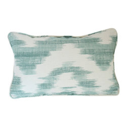 The Pillow Studio - Aqua Ikat De Lin for Lee Jofa Designer Lumbar Pillow Cover with Self Piping - Suzanne Rheinstein's Ikat De Lin for Lee Jofa fabric is GORGEOUS! This ikat print is perfect for a pillow.