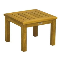 "Newport Teak Low 20"" Square Side Table - Yes, I'll take one Teak Newport Square Side Table, on the side, please.� This   low square side table is great with any of our Teak Patio Tables. Teak wood is sturdy   with a smooth polish finish. No need to paint or varnish. A nice height with our   Lounge Chairs, Adirondack Chairs,"