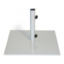 "Oxford Garden 70lb Gray Market Umbrella Stand - There is no need to worry about your umbrella blowing away in the wind when you use this 70 lb Market Umbrella Stand! This black powder coated base is designed to hold umbrellas between 9 and 10 ft wide. The simple design allows the beauty of your umbrella to shine through. The stand holds umbrella poles that are 1 7/8"" in diameter. Use under a table or on its own to safely secure your Market Umbrella. Dimensions: 19"" L x  19"" D x 20"" H  These Oxford Garden's Umbrella Stands use to be offered in black but now are only available in Gray."
