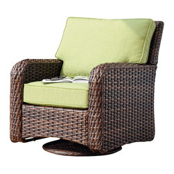 South Sea Rattan - South Sea Rattan Saint Tropez Resin Wicker Swivel Glider in Paradise Green - South Sea Rattan and Wicker Furniture Company has been offering a stylish alternative in casual home furnishings since 1984. Rattan and wicker, although classic, natural materials with centuries of history, work well for the furniture buyer who wants a home reflecting the feel of casual elegance. Rattan and wicker furniture offer comfort, versatility and livability. It mixes well with upholstered pieces, providing texture and nature to the home environment, patio, or sunroom. The South Sea Rattan and Wicker Collection offers an extensive variety of both indoor, outdoor, and patio furniture and accessories in a variety of styles and design.