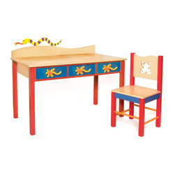 "Little Lizard Desk/Chair set, Natural - Our child-size Lizard desk and chair set has 3 drawers and lots of desktop space. Set is made with solid hardwood finished with natural and colored stains. Chair back has a frog shaped cut-out.   Includes 3 Lizard knobs and Snake finial for wave shaped back piece  Desk is 48""L, 24""D, 28""H.  Chair is 16""D x 16""W x 32.5"" H.  Removable hutch with corkboard back and bookshelf sold separately."