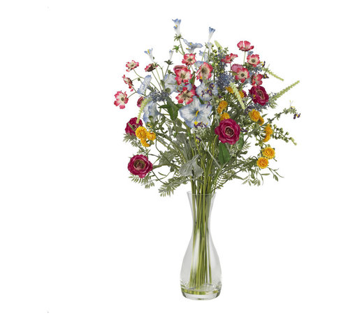 """Nearly Natural - Veranda Garden Silk Flower Arrangement - Bring the beauty of a wildflower garden into your home or office with this stylish arrangement from Nearly Natural's Floral Collection. We've taken an eclectic mix of colorful blooms, and arranged them in a 10"""" glass vase (complete w/ faux water), and the result is a mixture of colors and textures that will delight all. It's bold, delicate, colorful, and lush - all at the same time! Perfect for any home or office."""