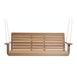 """All Things Cedar - 6ft. PORCH Swing - Handcrafted from clear grade Western Red Cedar our Swing features a well balanced Contemporary design. Ships complete with 24 feet of 3/16"""" Heavy Duty Suspension Chain and all the related hardware to have you up and swinging in no time. Item is made to order."""