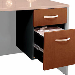 "Bush Business - Assembled 3/4 Pedestal File Cabinet in Auburn - The Assembled Series C Auburn Maple 3/4 Pedestal mounts to the left or right side of our Bow Front Desk, 72 inch Desk or 66 inch Desk, providing secure storage space conveniently close at hand.  Both drawers feature fully finished interiors. * Mounts to left or right side of Bow Front Desk, Desk 72"" and Desk 66"". One box and one file drawer for storage needs. File drawer has full-extension ball bearing slides and accepts letter or legal-size files. One lock on file drawer secures both drawers for work place privacy. Fully finished drawer interiors. Fully assembled unit . 15.512 in. W x 20.276 in. D x 20 in. H"