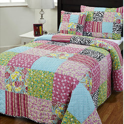 None - Kassie 3-piece Twin-size Quilt Set - This playful quilt set brings so much fun into any little girl's bedroom. A youthful and chic patchwork design make this colorful handmade quilt a definite must-have.