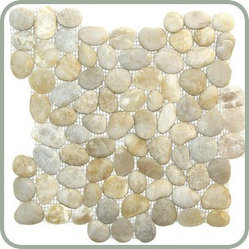 Design For Less - Natural Finish Smoke White Pebble Tile - You'll hardly believe the way your space is so beautifully transformed with this highly unique (not to mention gorgeous) pebble tile. It feels amazing under your feet and brings nature's elements to your comfort zone. These lovely white pebbles are shaped by the natural movements of the river and then placed upon a mesh backing.