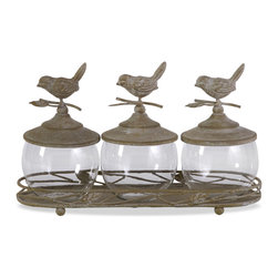 Avalon Lidded Canisters with Tray - Set of 4 - Used in a bathroom, this wonderful metal tray with glass canisters, adorned with birds, can be a decorative way to display bath beads and salts