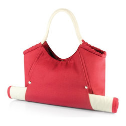 Picnic time - Cabo Beach Tote with Mat Red - The Cabo Beach Tote conveniently combines your personal tote and beach mat in one integrated pack. The durable canvas bag has soft rope handles that make carrying a breeze. An exterior pocket on the back stores smaller accessories for easy access, while a magnetic clasp keeps the main compartment closed. The personal-sized woven bamboo beach mat features an integrated zip-up cover to keep it from unfolding, and easily slides into the exterior flap on the tote. The flap then snaps to secure the mat in place. Available in Navy, Red, and Tan, the Cabo, carries your beach mat and personal items together effortlessly! Extended mat: 23 x 69. Tote: 20 x 14.