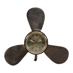 IMAX Imports - Tidus Clock - Fashioned after a ships propeller, the Tidus table clock adds a nautical touch to any Lake house, Coastal or Seaside dcor.