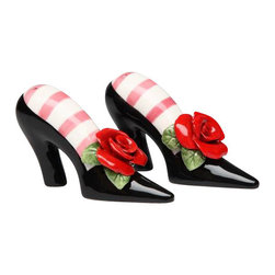 ATD - Black Heels with Red Roses and Striped Socks Salt and Pepper Shaker - This gorgeous Black Heels with Red Roses and Striped Socks Salt and Pepper Shaker has the finest details and highest quality you will find anywhere! Black Heels with Red Roses and Striped Socks Salt and Pepper Shaker is truly remarkable.