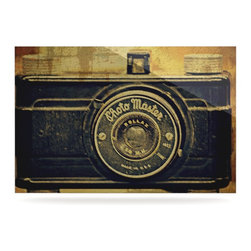 """Kess InHouse - Robin Dickinson """"Discarded Treasure"""" Vintage Camera Metal Luxe Panel (16"""" x 20"""") - Our luxe KESS InHouse art panels are the perfect addition to your super fab living room, dining room, bedroom or bathroom. Heck, we have customers that have them in their sunrooms. These items are the art equivalent to flat screens. They offer a bright splash of color in a sleek and elegant way. They are available in square and rectangle sizes. Comes with a shadow mount for an even sleeker finish. By infusing the dyes of the artwork directly onto specially coated metal panels, the artwork is extremely durable and will showcase the exceptional detail. Use them together to make large art installations or showcase them individually. Our KESS InHouse Art Panels will jump off your walls. We can't wait to see what our interior design savvy clients will come up with next."""