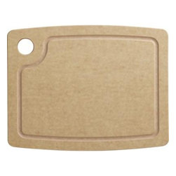 """Epicurean® Natural Dishwasher Safe 11.5""""x9"""" Cutting Board - Our easy-care, eco-friendly cutting board is handcrafted in Minnesota from sustainably harvested American wood. The construction process uses wood pulp certified by the Forest Stewardship Council (FSC), a nonprofit organization that encourages responsible management of the world's forests. Foodsafe resin is added in a technique that dramatically reduces waste, while Greenguard certification assures adherence to strict chemical emission standards, contributing to healthy homes. Dishwasher-safe board will develop a warm patina with regular use but will not warp, crack or dull cutlery."""