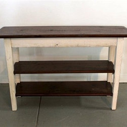 Rustic White Sofa Table With 2 Shelves - Made by http://www.ecustomfinishes.com