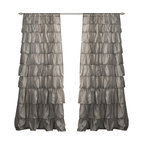 "Lush Decor - Ruffle Gray Window Curtain - Includes: 1 Panel. Color: Gray. Panel: 50""W x 84""H. No lining. 3"" Rod Pocket. Machine Wash. . Fabric Content: 100% PolyesterTurn any room from ordinary to incredibly special when you add our Ruffle Window curtains. Beautifully flowing layers of brushed poly with hand constructed ruffle details. So feminine, so pretty and so flexible. they work anywhere in your home."