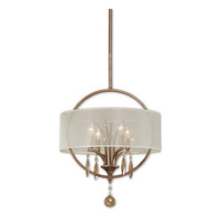Uttermost - Uttermost Alenya 4 Lt Pendant w/ Silken Champagne Sheer Fabric Shade - 4 Lt Pendant w/ Silken Champagne Sheer Fabric Shade belongs to Alenya Collection by Uttermost Burnished gold metal with golden teak crystal leaves and a silken champagne sheer fabric shade. Pendant (1)