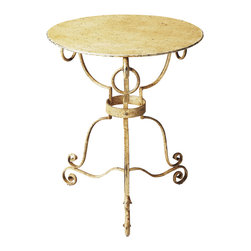 Butler Specialty - Butler Alyssa Iron Accent Table - The speckled cream finish on this cast Iron side table has the look of a rare antique. Its round top and hand forged base pair equally well beside a shabby chic sofa or chair, or in a spare room as a bedside table.