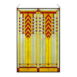 """Maclin Studio - Arts and Crafts Prairie 20"""" x 30"""" Chevron Art Glass Panel Red - Our striking new Arts and Crafts Prairie 20"""" x 30"""" Chevron Art Glass Panel Red is hand made in the USA with a color palette of Reds, Browns, Gold Ambers and Frosted Clear. Ht: 30.5"""" W: 20.5"""". On this glass panel, enamel colors are individually applied to a single sheet of tempered glass giving each panel unique aspects of both color and texture. The glass is then framed with a patinated metal came and comes complete with mounting chain."""