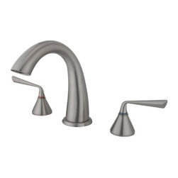 "Kingston Brass - Kingston Brass Satin Nickel Roman Two Handle Roman Tub Filler KS2368ZL - Solid brass construction for durability and reliability, Premium color finish resists tarnishing and corrosion, 13.0 GPM at 60 PSI, 7-1/8"" spout reach, 8-7/16"" spout height, 5-1/4"" spout clearance, 3/4""-14NPS, 1/4 turn ceramic disc cartridge, 8""-16"" widespread installation, Ten year limited warranty.. Manufacturer: Kingston Brass. Model: KS2368ZL. UPC: 663370073199. Product Name: Two Handle Roman Tub Filler. Collection / Series: Roman. Finish: Satin Nickel. Theme: Contemporary / Modern. Material: Brass. Type: Faucet. Features: Drip-free ceramic cartridge"