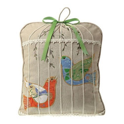 Birdcage Pillow - Sweet and simple, our charming Birdcage Pillow will add the perfect amount of whimsy and creative expression to any room.  Each handcrafted down filled pillow is appliqued with a vibrant set of birds and delicately embroidered.