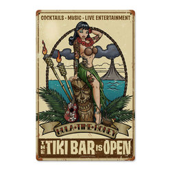 Hula Time Honey Tiki Bar Sign Metal Sign Wall Decor 12 x 18 - Hula Time Honey Tiki Bar Sign Metal Sign Wall Decor From the Retro  A Go Go licensed collection, this Hula Time Honey Tiki Bar Sign vintage metal sign measures 12 inches by 18 inches and weighs in at 2 lb(s). This vintage metal sign is hand made in the USA using heavy gauge american steel and a process known as sublimation, where the image is baked into a powder coating for a durable and long lasting finish. It then undergoes a vintaging process by hand to give it an aged look and feel. This vintage metal sign is drilled and riveted for easy hanging.