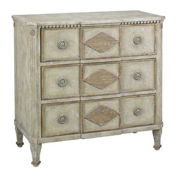 Lillian August - Lillian August Lambert Breakfront Chest LA98563-01 - A wonderful small three drawer chest with Belgian styling in a modeled dry finish that lies some where between an aged bone and a pale grey highlighted with aged gold that reads through to the wood tone.