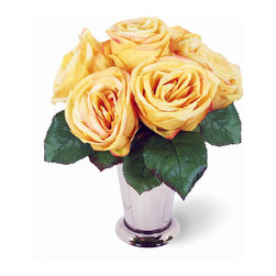 Winward Designs - Rose In Julip Cup Flower Arrangement, Yellow - Our exquisite roses could easily inspire a poem or two. Skilled artisans paint and curl every petal. Available in a variety of refined, romantic shades, our limited edition Valentine's Day arrangement comes in an elegant Julep vase.  Choose from 6 luscious colors we recreated from nature. Blood Red (shown here), Rich Fuchsia, Orange Coral, Cotton Candy Pink, Sunshine Yellow, and Snow White.