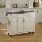 "Home Styles - Create-a-Cart Kitchen Cart with Stainless Steel Top - Features: -Convenient spice rack on one side.-Stainless steel towel bar on the other side.-Three spacious storage cabinets.-Adjustable shelves behind four wood framed doors.-Two spacious easy open drawers on metal drawer glides.-Four heavy duty industrial grade rubber casters (two locking).-Easy to assemble.-Cart constructed of solid wood.-Product Type: Kitchen Cart.-Collection: Create-a-Cart.-Counter Finish: Stainless steel.-Hardware Finish: Brushed Steel.-Distressed: No.-Powder Coated Finish: No.-Gloss Finish: No.-Base Material: Wood.-Counter Material: Stainless Steel.-Hardware Material: Brushed Steel.-Solid Wood Construction: Yes.-Number of Items Included: 1.-Water Resistant or Waterproof Cushions: No.-Stain Resistant: No.-Warp Resistant: No.-Exterior Shelves: No.-Drawers Included: Yes -Number of Drawers: 2.-Push Through Drawer: No..-Cabinets Included: Yes -Number of Cabinets : 3.-Double Sided Cabinet: No.-Adjustable Interior Shelves: Yes.-Number of Doors: 4.-Locking Doors: No.-Door Handle Design: Linear pulls..-Towel Rack: Yes -Removable Towel Rack: No..-Pot Rack: No.-Spice Rack: Yes .-Cutting Board: No.-Drop Leaf: No.-Drain Groove: No.-Trash Bin Compartment: No.-Stools Included: No.-Casters: Yes -Locking Casters: Yes.-Removable Casters: No..-Wine Rack: No.-Stemware Rack: No.-Cart Handles: No.-Finished Back: Yes.-Commercial Use: No.-Recycled Content: No.-Eco-Friendly: No.-Product Care: Clean with a damp cloth.Specifications: -ISTA 3A Certified: Yes.Dimensions: -Overall Height - Top to Bottom: 35"".-Overall Width - Side to Side: 48.75"".-Overall Depth - Front to Back: 17.75"".-Width Without Side Attachments: 44.5"".-Countertop Thickness: 1.25"".-Countertop Width - Side to Side: 44.5"".-Countertop Depth - Front to Back: 17.5"".-Shelving: -Shelf Width - Side to Side (End Cabinet Shelves) : 8.5"".-Shelf Width - Side to Side (Center Cabinet Shelves) : 18"".-Shelf Depth - Front to Back: 14.5""..-Leaf: No.-Drawer: -Drawer Interior Height - Top to Bottom: 1.5"".-Drawer Interior Width - Side to Side: 16.5"".-Drawer Interior Depth - Front to Back: 13.5""..-Cabinet: -Cabinet Interior Height - Top to Bottom: 23.5"".-Cabinet Interior Width - Side to Side (End Cabinets) : 8.5"".-Cabinet Interior Width - Side to Side (Center Cabinet) : 18"".-Cabinet Interior Depth - Front to Back: 14.5""..-Overall Product Weight: 143 lbs.Assembly: -Assembly Required: Yes.-Tools Needed: Phillips screwdriver.-Additional Parts Required: No.Warranty: -Product Warranty: Vendor replaces parts for 30 days."