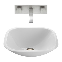 VIGO Industries - VIGO Square Shaped White Phoenix Stone Glass Vessel Sink, Brushed Nickel - The VIGO Square Shaped Phoenix Stone Vessel Sink with Brushed Nickel Wall Mount Faucet provides a contemporary presence to any bathroom.