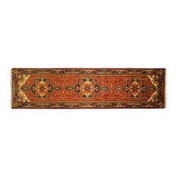 """Manhattan Rugs - Free-Pad New Heriz Serapi Hand Knotted Runner 2' 6"""" X 10' Rust Color Wool Rug H3 - Heriz is situated in the northwestern part of Iran (Persia).� Though the term covers Hand knotted rugs of numerous small villages in the area, the most beautiful Rugs were woven in Heriz itself For the last 100 years, the Heriz carpet designs have basically remained the same, with only small variations in color pallets and density of the design. The late 19th Century Rug (so called Serapis) was of fewer details and softer colors and with time designs became denser with added jewel tone color pallets. The revival of the carpet industry in the late 19th Century was based on the demand of the Western markets, with America in particular. Weavers in Heriz hand knotted were asked to make carpets inspired by the Fereghan Sarouks of higher cost for consumers of more limited budgets. Even though Sarouk carpets changed style later on, Heriz weavers stayed with the geometric pattern till now.� However, Heriz was also a center of production of some of the best handmade carpets with both geometric and curvilinear floral patterns.� A special heirloom wash produces the subtle color variations that give rugs their distinctive antique look."""