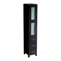 """Fresca - Fresca Torino Light Oak Tall Bathroom Linen Side Cabinet - Dimensions:  12""""W x 15""""D x 68.13""""H. Materials:  Plywood w/ Veneer. 2 Soft Closing Doors. 3 Soft Closing Drawers. Perfect Match For All Fresca Torino """"Light Oak"""" Vanities. . . . The Fresca Torino Tall Bathroom Linen Cabinet is not only a perfect addition to any Fresca Torino vanity ensemble, but it also works very well as a stand alone unit.  The cabinet is made from a high quality veneer with frosted glass on the 2 doors."""