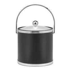 Kraftware - Sophisticates 3-qt. Ice Bucket in Black w Lucite Cover - Bucket with bale handle and polished chrome bands. Classic black leatherette elegance. Made in USA. 9 in. Dia. x 9 in. H (3 lbs.)Always as appropriate as a formal Tuxedo at a reception.
