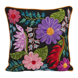 iMax - iMax Midnight Floral Pillow - Embroidered black cotton takes on a spicy look with the bold colored floral design in the Midnight Floral pillow.