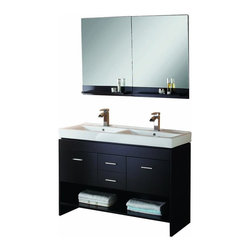 Double Sink Bathroom Vanity Set - Double vanity with espresso finish, Includes brushed nickel hardware, white ceramic basins, and mirror with shelf.
