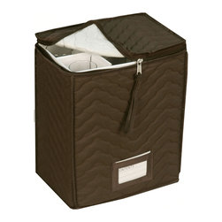 None - Quilted China Storage Champagne Flute Storage Chest - Store your expensive china in this quilted vinyl Accessory China Storage. This popular china storage protects dishes from chipping,scratching or any possible damage.