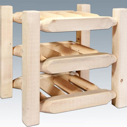 Montana Woodworks - Countertop Wine Rack - Hand crafted. Sawn square timbers and trim pieces for rustic timber frame design. Heirloom quality. Solid lodge pole pine. Holds up to nine bottles. Made from U.S. solid grown wood. Lacquered finish. Made in U.S.A.. No assembly required. 13 in. W x 17 in. D x 15 in. H (12 lbs.). Warranty. Use and Care InstructionsFrom Montana Woodworks, the largest manufacturer of handcrafted quality log furnishings in America comes the all new Homestead Collection line of furniture products. Display your fine wines in this counter top wine rack! This nine bottle capacity rack is the perfect way to nestle your chosen vintages in rustic charm while having them at your fingertips. Each piece signed by the artisan who makes it.