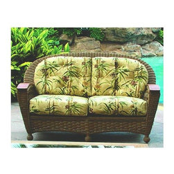 Spice Island Wicker - Wicker Loveseat (Cream) - Fabric: CreamA rust-free aluminum frame steadily holds up the shape of this stunning elements-friendly wicker frame with beautifully harmonizing Teak arms.  Its all-weather fabric, if chosen, makes it an elegant and ultimately comfortable outdoor seating for the patio, pool side, or deck.  Extend summer living to all season enjoyment with this wicker loveseat designed for the outdoors.  Featuring all-weather vinyl weave and aluminum frame, it�۪s accented by the most elegant of woods ��� solid teak.  Dressed in wonderful patterns and a rich finish for entertaining or quiet times. * All Weather Wicker - Woven Vinyl over Aluminum frame. Stone Finish. Includes Cushion. Arms are solid teak. 54 in. W x 35 in. D x 38.5 in. H