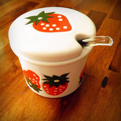 Rare Midcentury Strawberry Jam Jar with Lid by Head Swankstress - This midcentury jam jar has a vintage-modern style that just feels happy.