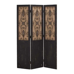Benzara - Traditional Wood Metal Three Panel Screen in A Rustic Design - Traditional wood metal three panel screen in a rustic design. This wood metal three panel screen is a useful addition to your home decor. Some assembly may be required.