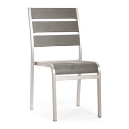 ZUO VIVA - Township Chair Brushed Aluminum - The Township Chair has a sturdy brusehed aluminum frame and a slatted faux wood seat and back.