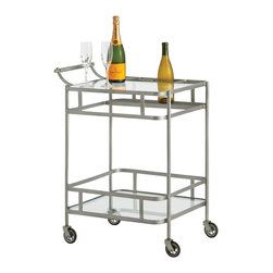 Arteriors - Maddox Bar Cart, Zinc - Flowing curves lend a hint of Deco to the Maddox Bar Cart.  Two clear shelves, apron detailing and a specifically designed place for bottles, corrals all your libations with style.  This transitional piece is at home anywhere.  Comes in Zinc or Antique Iron finish.  Caster wheels.