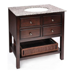 Simpli Home - Burnaby Bathroom Vanity (24 inch) - Choose Vanity Width: 24 inch. Includes wood vanity, marble countertop and ceramic sink. Finish: Dark Brown . Material: Wood, MDF, PB, Marble and Ceramic. Assembly Required. 24 in. L x 21 in. W x 35 in. H ( 130 lbs. )