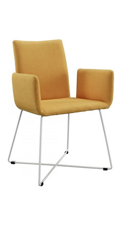 Creative Furniture - Lilou Yellow Fabric Dining Chair - This one is sure to make a refreshing touch in any modern dining area. The new exclusive Lilou dining chair is offered in Yellow Fabric upholstery. The frame and legs are made of metal.    Features: