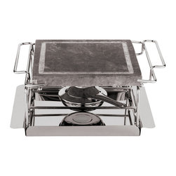 Paderno World Cuisine - 9-in. Stone Grill Set - This heavy, thick stone top works as a grill. The supporting stainless steel rack is used to place the stone grill in the oven and then to the table. It remains hot, allowing guests to grill their own food at the table. It comes with a tray and one or two additional burners to extend grilling time. For item #41315-04, the overall length is 17-in. by 4-in. high and 9-in. by 4-in. high for item #41315-02.