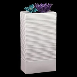 Urban Trends Rectangular Ceramic Vase White with Flower Accents - About Urban Trends Collection:Urban Trends Collection is a leading home décor and decorative home accessories company. They specialize in the latest home furnishings, decorative home accessories, accent pieces, and garden accessories. Urban Trends is a global company that provides quality, reasonably priced home decor to their customers. They deal extensively in decorative home accessories items crafted in Spain, China, India, Turkey, and the Philippines. Urban Trends works with the best artisans and craftspeople as well as only quality manufacturers and reputable factories.