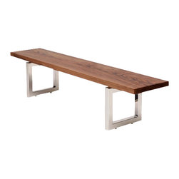 "ARTLESS - GAX16 6'  Walnut Bench - ARTLESS GAX 16 is the newest member of the GAX family. A bench seemed like the most obvious iteration out of this design. Two 16"" x 16"" polished Stainless Steel bases on top of a 2' solid wood top. Beauty always wins."