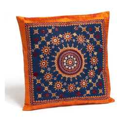 "Sitara Collections - Neran Hand Embroidered Raw Silk Pillow Cushion Cover, 16"" X 16"" - The ancient Weaving Technique of Mashru is Shown off to Perfectiom in these 100 % Pure Sik Cushiom Covers. Natural Dyes Evoke Elements of Both Earth and Sky in the Covers, Whose Hand-Woven Beauty adds Elegance and internatiomal Flair to Couches, Beds, and More. Cushiom Covers Measure 16"" by 16"" and Feature a Slit Closure. Color: Rust, with Blue Fabric: Raw Silk with Neran Hand-Embroidery Cushiom inserts Not included Closure: Slit Care instructioms: Dry Clean omly or Spot Clean Dimensioms: 16 inches X 16 inches Set includes ome (1) Cushiom Cover Handmade in Kutch, Gujarat india."